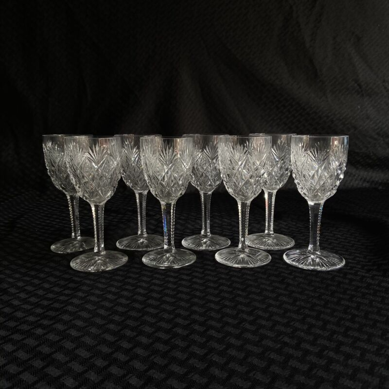 St Louis Crystal Lot of 8 Claret Wine Glasses Florence Pattern