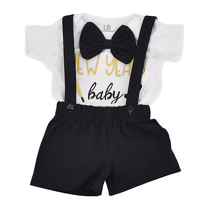 Boutique Clothes For Boys (Boys New Years Baby Suspender Outfit Layette Set Boutique Toddler Kids)