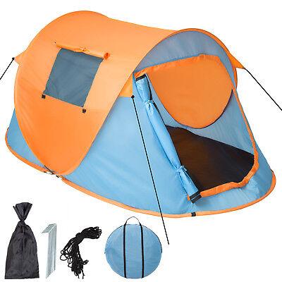Tenda popup campeggio 2 posti automatica instant viaggio trekking moto blu nuovo