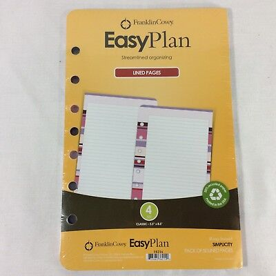 Easy Plan 50 Lined Pages Simplicity Franklin Covey Refill Classic Planner Color