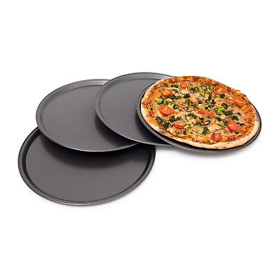 Pizzablech rund 4er Set Backset Backblech Pizzabackblech Metallblech Pizzateller