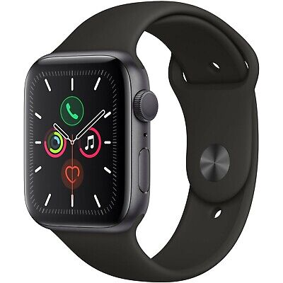 Apple Watch Series 5 40mm Space Gray Aluminum Case Black Sport Band MWV82LL/A