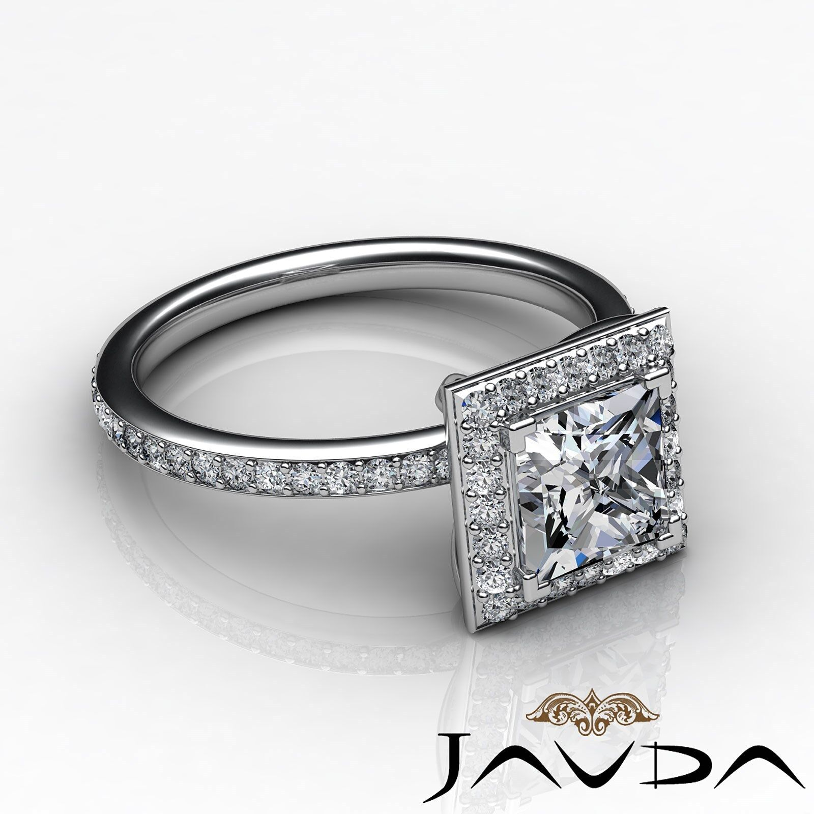 Halo Pave Set Princess Cut Diamond Engagement Ring GIA G Color VS1 Clarity 2.5Ct 2