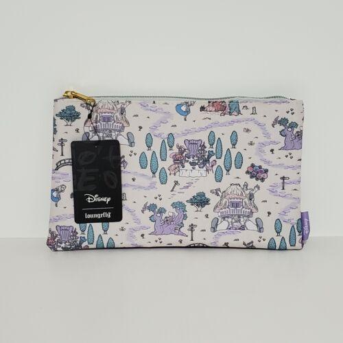 Loungefly Disney Alice In Wonderland Map Purple Green Makeup Bag