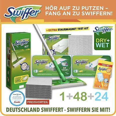 Swiffer Set Bodenwischer +48 Trockene Tücher +24 Feuchte Wischtücher + Testkit