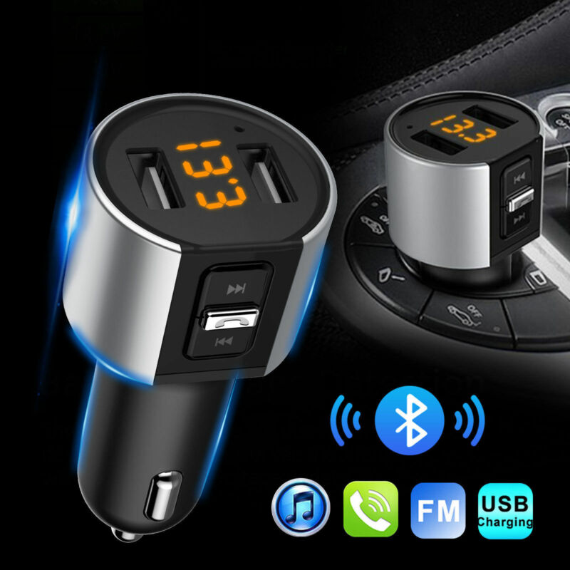 Wireless In-Car Bluetooth FM Transmitter MP3 Radio Adapter Car Dual USB Charger
