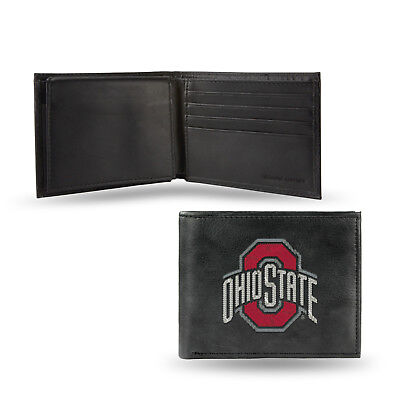 Ohio State Buckeyes Wallet Prem Black LEATHER BillFold Embroidered University of
