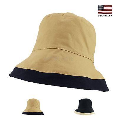 Womens Spring Summer Packable Ribbon Cotton Hiking Fishing Beach Sun Bucket Hat