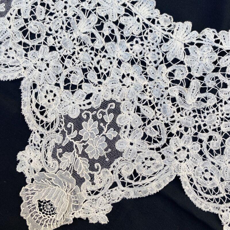 "Exquisite Antique Brussels Lace Collar Point De Gaze Roses Handmade 19th C 60"""