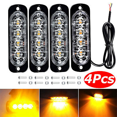 4X 4 LED Car Truck Emergency Strobe Amber Flashing Beacon Breakdown 12/24V Light