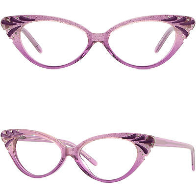 Acetate Full-Rim Frame with Spring Hinges Women's cat-eye Glasses Purple Crystal