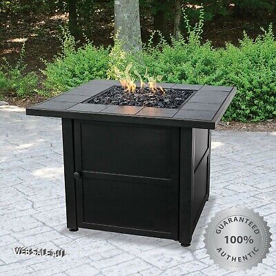 Patio Gas Fire Pit Table Black Slate Tile Outdoor Propane Heater Stainless Steel ()