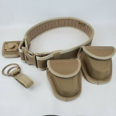 Galls Nylon Beige Duty Military Police Tactical Waist Belt Small W Cuff Pouches