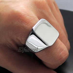 Mens-High-Polished-Signet-Solid-316L-Stainless-Steel-Ring