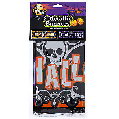 Metallic Banner 2 Pack Decoration - Happy Halloween & Trick or Treat