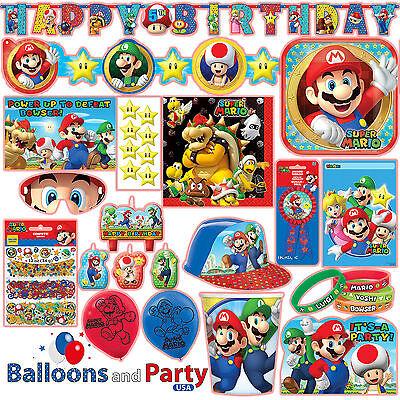 Super Mario Bros Gaming Birthday Party Tableware Decorations - Mario Brother Party Supplies