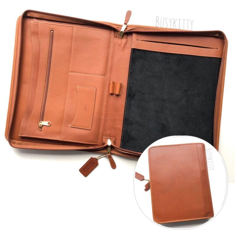 Vintage Coach British Tan Leather Zip-Around Folio Organizer - Style No. 5251