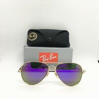Ray-Ban Sunglasses Aviator Clasic 3025 (5418) Gold Purple Flash Lens (Purple Ray Ban Aviators)