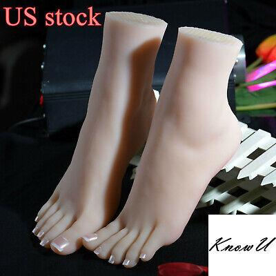 Duo Display - 1Pair  Lifelike Silicone Feet With Bone Female Foot Model Display US