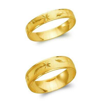 14K Solid Gold Shooting Star Wedding Band Wedding Ring Men Women 4-6mm -