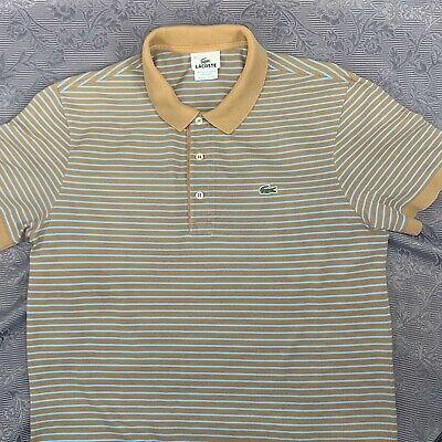 Lacoste Blue & Brown Striped Polo Shirt -  Sz4