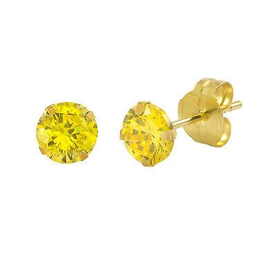 14k Yellow Gold Citrine Yellow Cubic Zirconia Stud Earrings Round Birthstone CZ