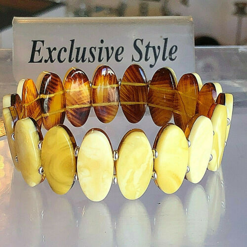 100% Genuine Russian Baltic Amber Bracelet Vintage Butterscotch Egg Yolk 老琥珀