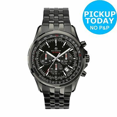 Accurist Men's Black IP Stainless Steel Bracelet Watch.
