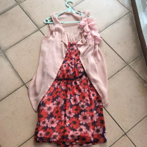 New Mayuki Pink Chiffon Vest With Corsage Pink Flower