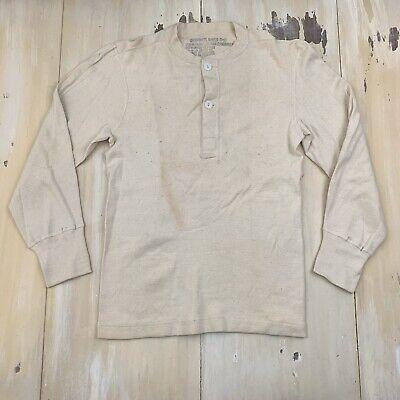 US ARMY: Vtg M50 C7543 Korea Winter Henley Wool/Cotton Undershirt, Mens MEDIUM
