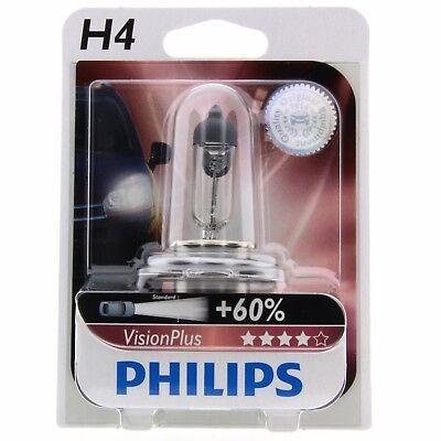 H4 Philips VisionPlus bis zu 60% mehr Licht Halogenlampe 12342VP Blister 1 Stück