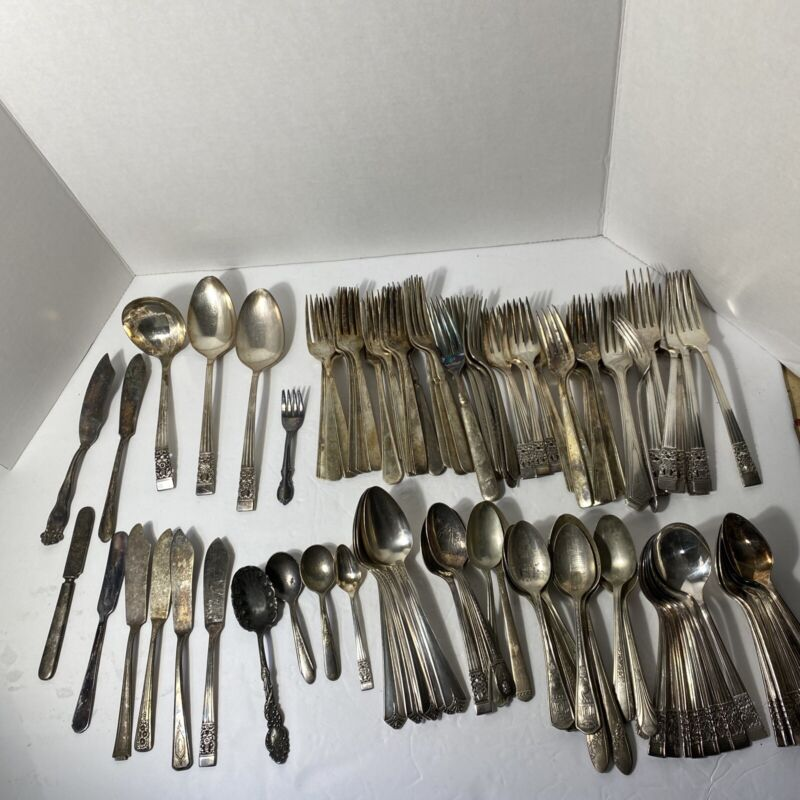 Lot Of 100 Vintage Antique Silverplate Silverware Serving Spoons Knives, Forks