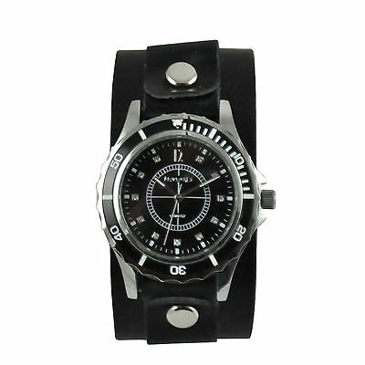 Nemesis Bella Ladies Watch with Black Leather Cuff Band Vintage Style