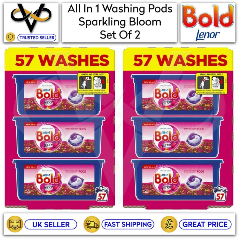 2 x Bold All In 1 Pods Sparkling Bloom & Yellow Poppy Washing Capsules 57 Washes