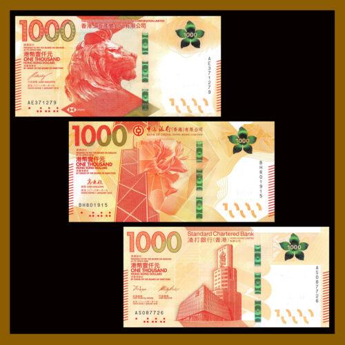 Hong Kong 1000 (1,000) Dollars (3 Pcs Set), 2018 P-New BOC HSBC SCB Unc