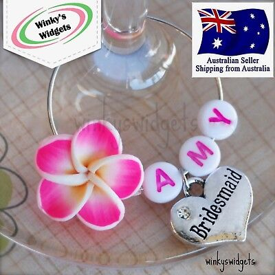 Wedding Heart & Frangipani Wine Glass Charm Personalised Hen Party Gift - Party Table Decoration Ideas