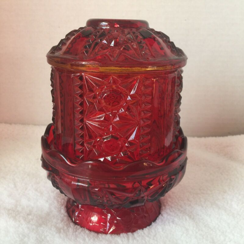 Vintage Indiana Glass Red Flashed Stars & Bars Fairy Lamp Candle Holder Light