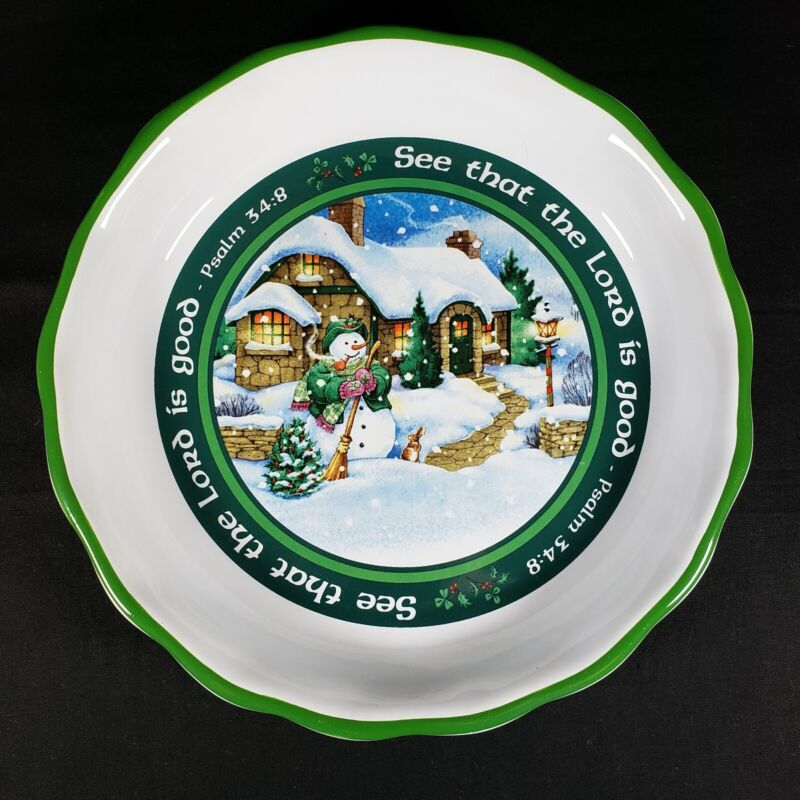 Abbey Press Psalm 3:48 See That The Lord Is Good Christmas Irish Snowman Dish