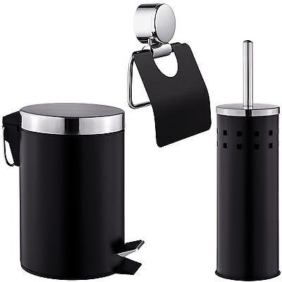 3 teiliges Badset Klopapierrollenhalter + Klobürste +Eimer Toilettenpapierhalter
