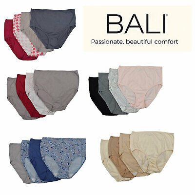 Bali Women's Cottony Bliss Bali Briefs 4 Packs Multi Color in Sizes S-XL