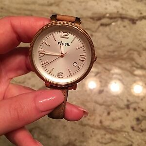 FOSSIL vintage leather style wrap with rose gold face
