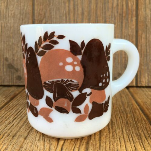 Vintage Hazel Atlas Milk Glass Mushroom Mug / Coffee Cup Orange & Brown Print