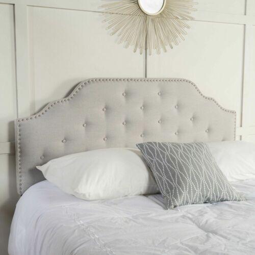 Austell Light Grey Fabric Queen/Full Headboard Beds & Mattresses