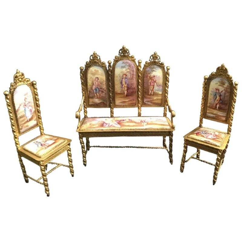 Antique Viennese Enamel Miniature Salon Set