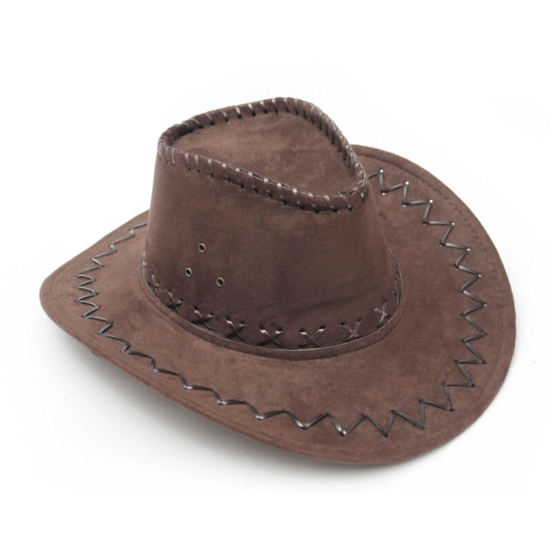 Men Women Western Cowboy Wool Hat Wide Brim Cap Retro Cowgirl Unisex Riding Hat