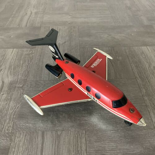 Vintage Tonka 1979 Toy Plastic Red Learjet Plane Made In Hong Kong #301