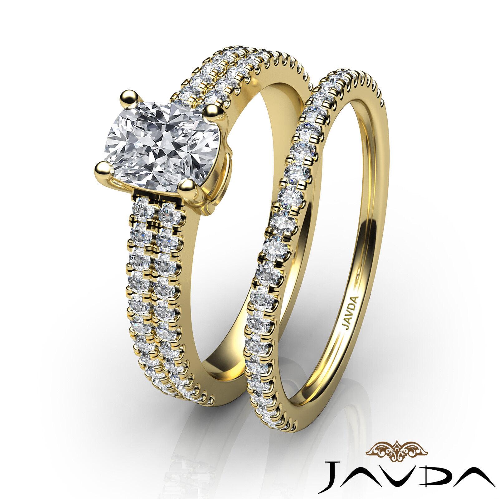 1.8ctw Bridal Scalloped Pave Cushion Diamond Engagement Ring GIA F-VVS2 W Gold 11