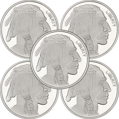 No Date Buffalo Medallion 1oz .999 Silver LOT OF 5