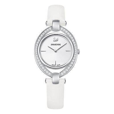 Swarovski White Leather - SWAROVSKI CRYSTAL STELLA WHITE LEATHER STRAP WATCH 5376812.NEW IN BOX