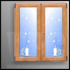 Adesivi natale stelline e candele per finestre vetri vetrine negozi muri ebay - Adesivi natalizi per finestre ...